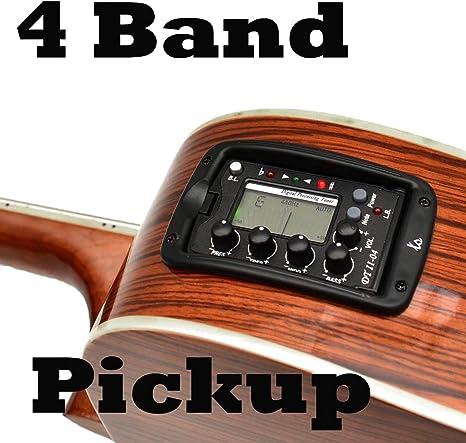 4 banda EQ Ecualizador pastilla + LCD Afinador para guitarra ...