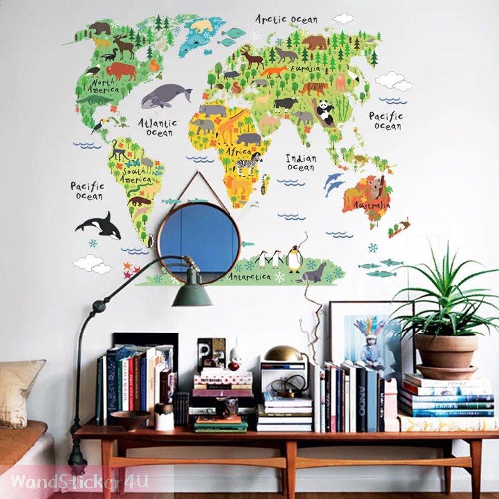 Ansprechend Wandtattoo Weltkarte Sammlung Von Wandsticker4u- Kinder | Wandbild: 100x80 Cm |