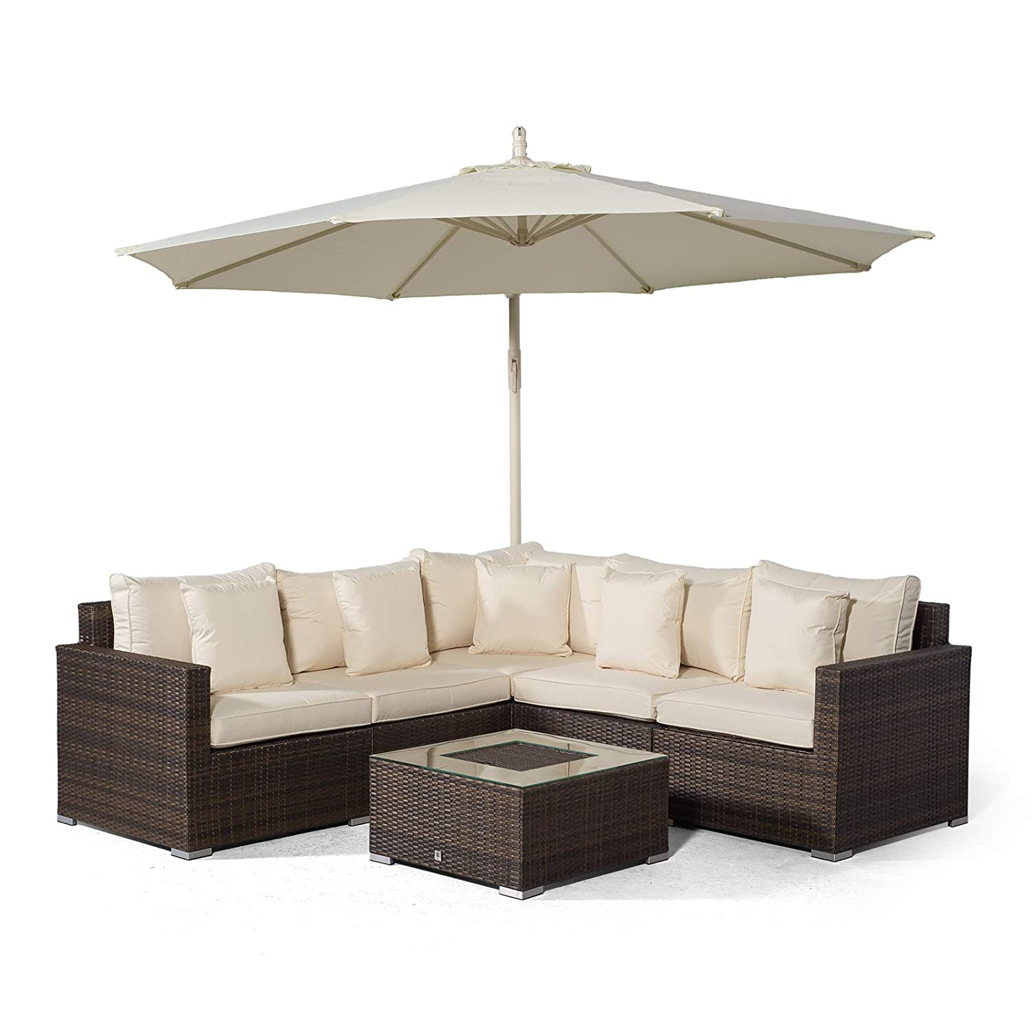 Set Giardino In Rattan.Giardino Havana 5 Seat Brown Rattan Corner Sofa Set Drinks