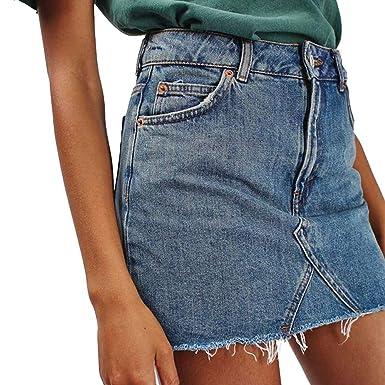 6db292454e6018 Shujin Femme Jupe Denim Taille Haute Hip Push-up Demi-Robe Ripple Crayon  Slim Skinny Jean Bodycon Ourlet Fendu avec Poches Mini-Jupe Crayon Tunique