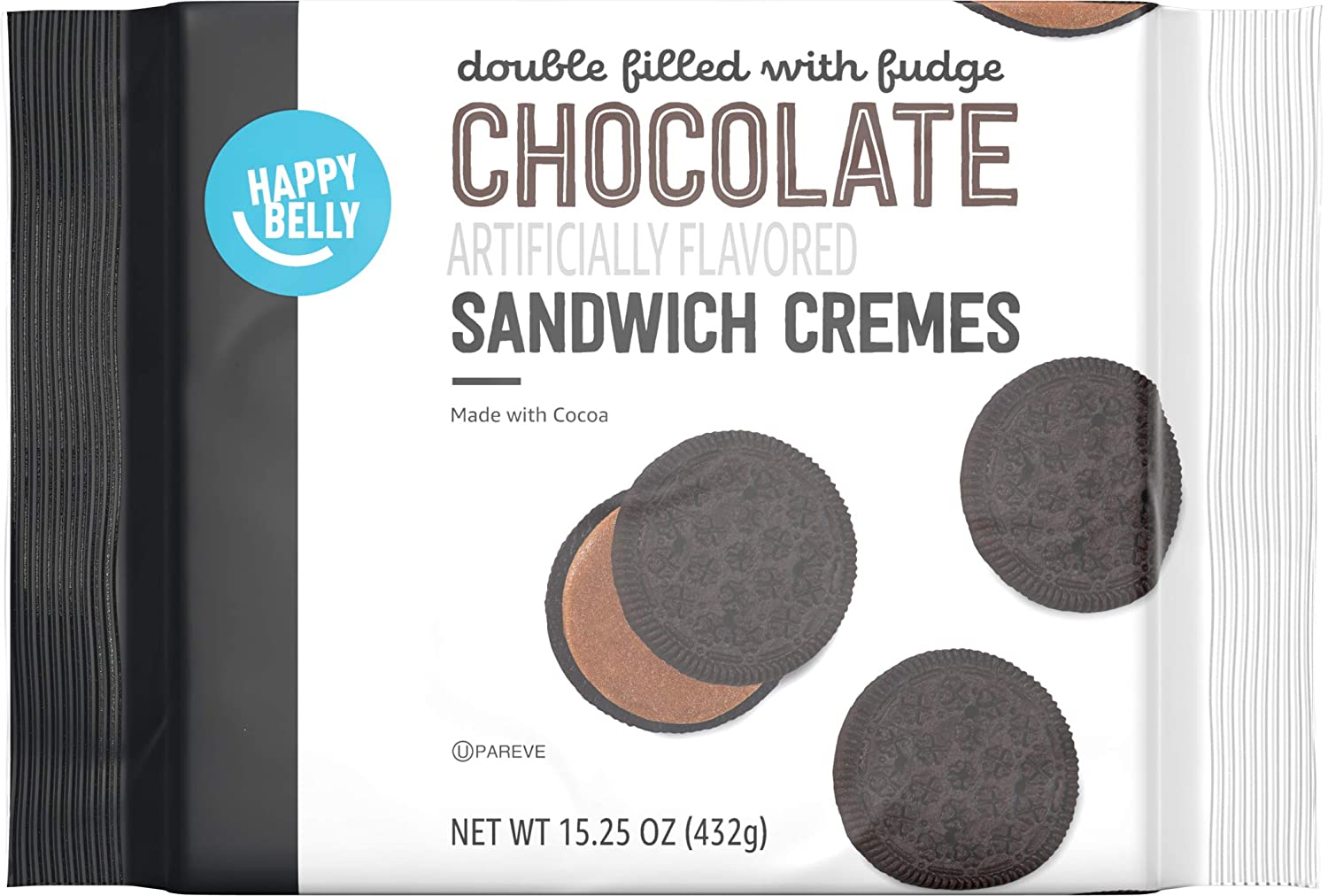 Amazon Brand - Happy Belly Double Filled with Fudge Chocolate Sandwich Crèmes Cookies, 15.25 Ounce