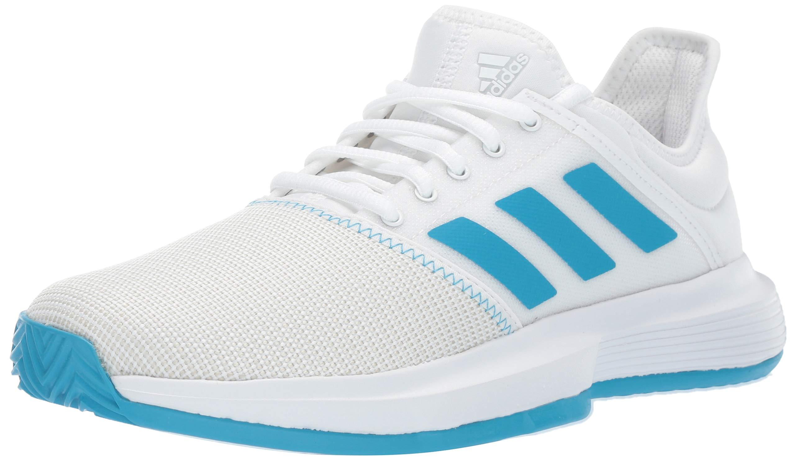 adidas Women's Gamecourt, White/Shock Cyan/Matte Silver, 5 M US
