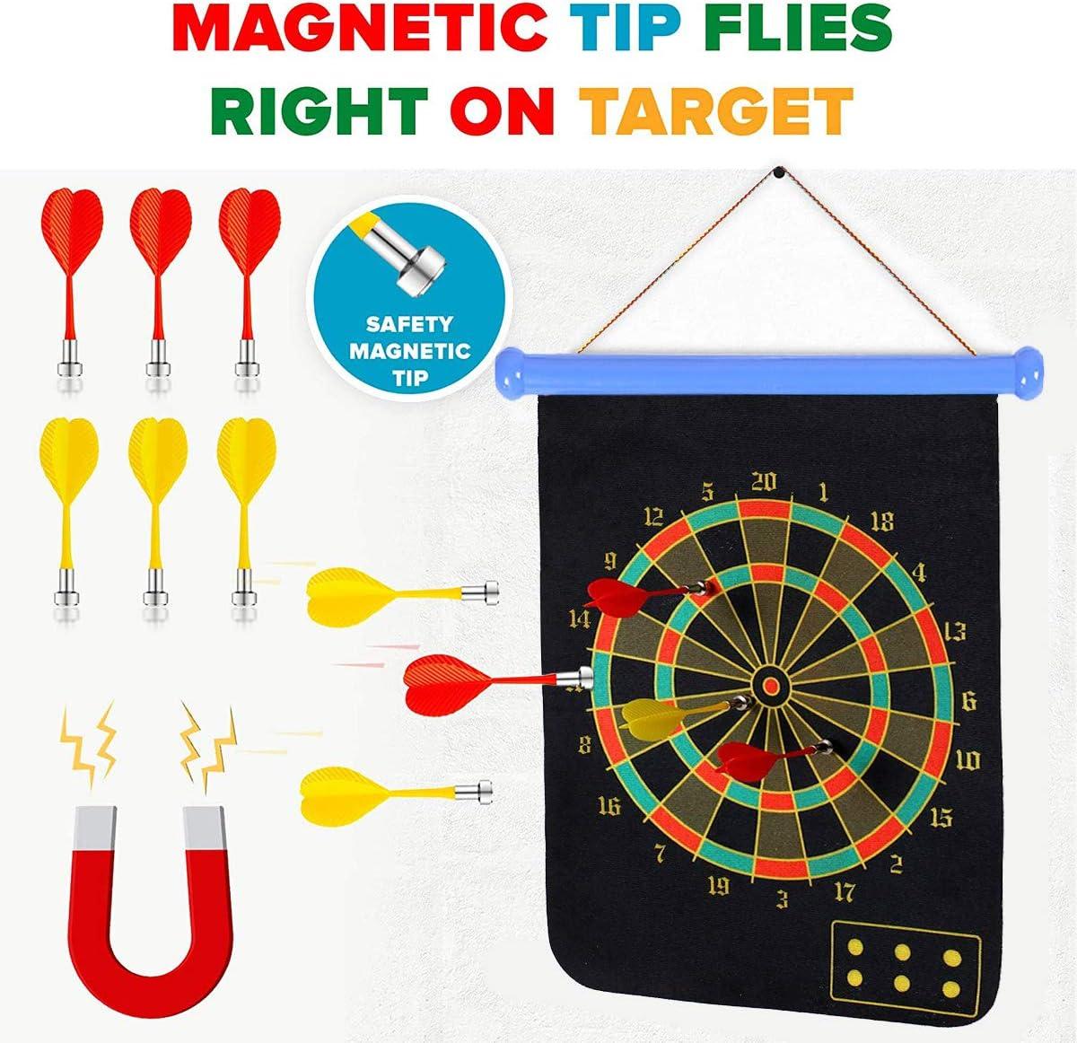Tablero de Dardos Magn/ético Queta Lanzamiento de Dardos para Ni/ños con 8 Bolas 8 Flechas Juego de Pelota de Pegamento Enrollable Reversible para Interior y Exterior