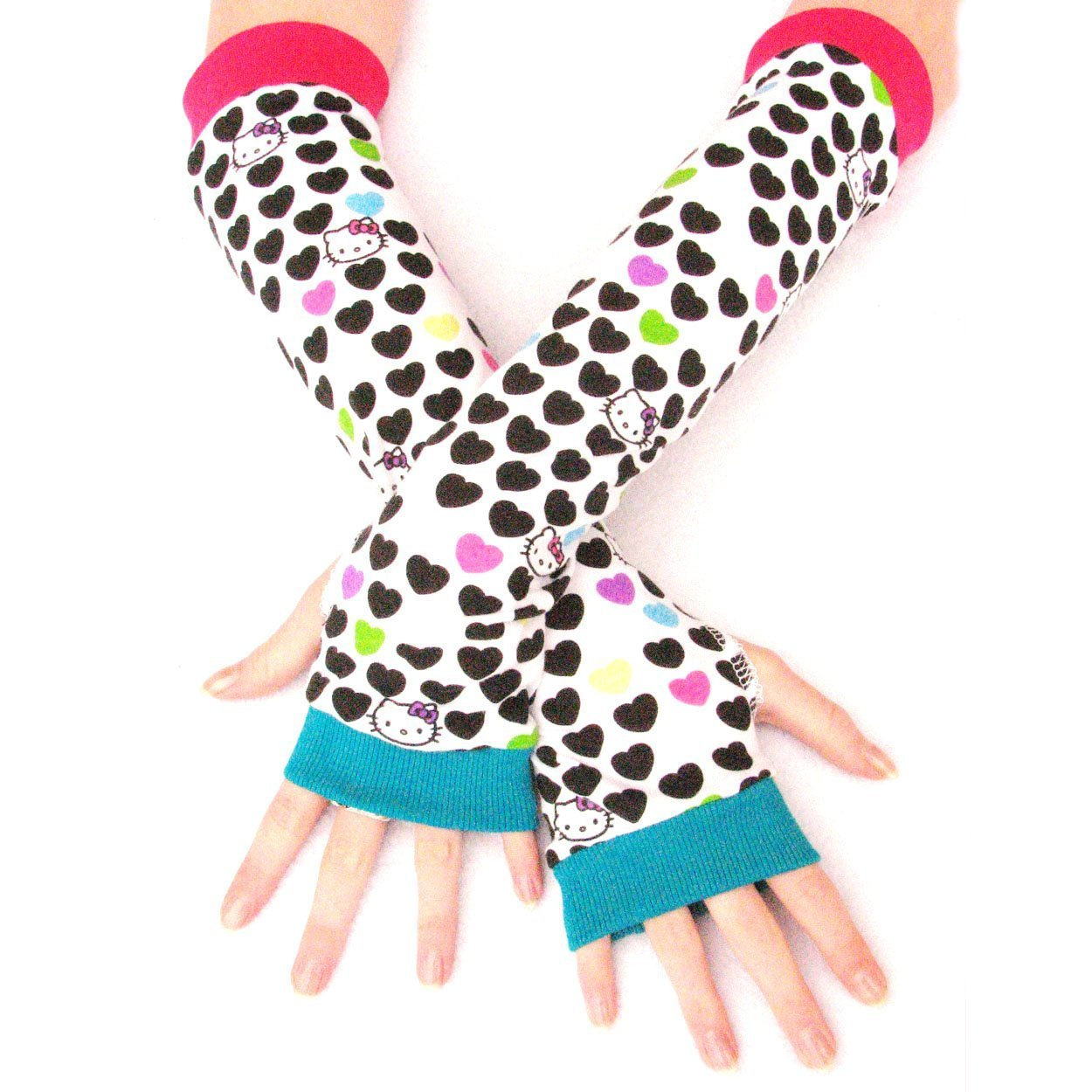 Arm Warmers Cute Kitty Rainbow Hearts Gloves Hello Valentine