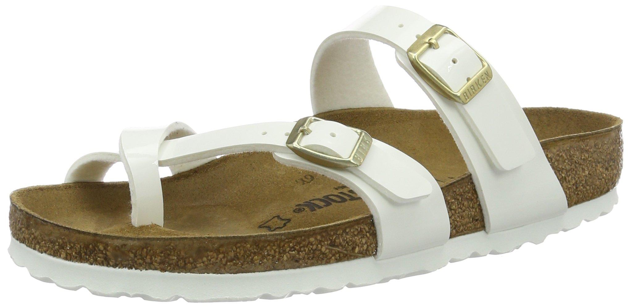 Birkenstock Womens Mayari Strappy Birko-Flor Twin Buckle Patent Sandals - White - US10/EU41