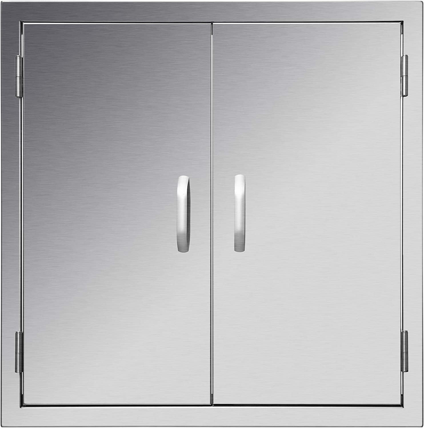 """CO-Z Upgraded Outdoor Kitchen Doors, 304 Stainless Steel Double BBQ Access Doors for Outdoor Kitchen, Commercial BBQ Island, Grilling Station, Outside Cabinet, Barbeque Grill, Built-in (24""""W x 24""""H)"""