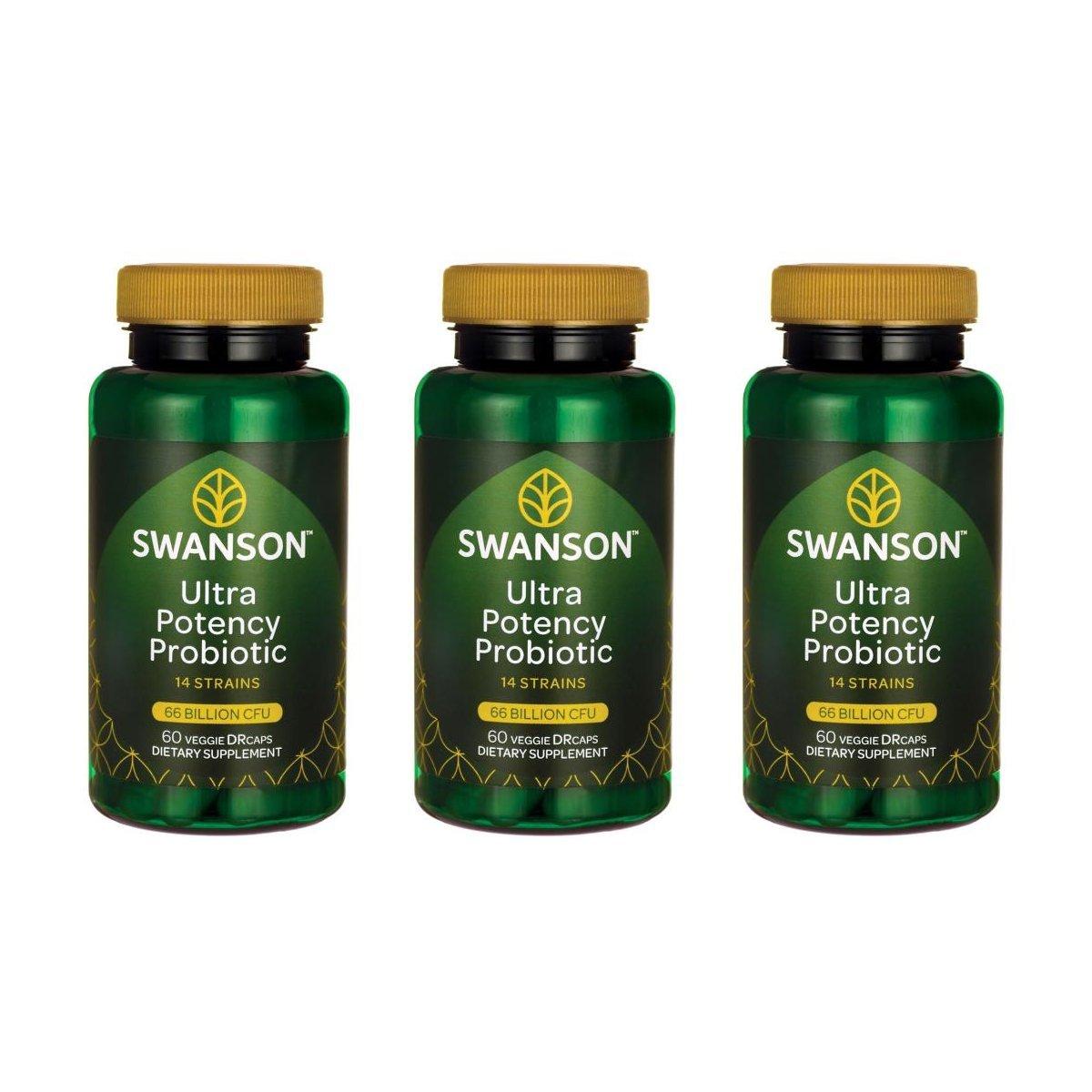 Swanson Ultra Potency Probiotic Digestive Health Immune System Support 66 Billion CFU Prebiotic NutraFlora scFOS 60 DRcaps Veggie Capsules (Caps) (3 Pack)