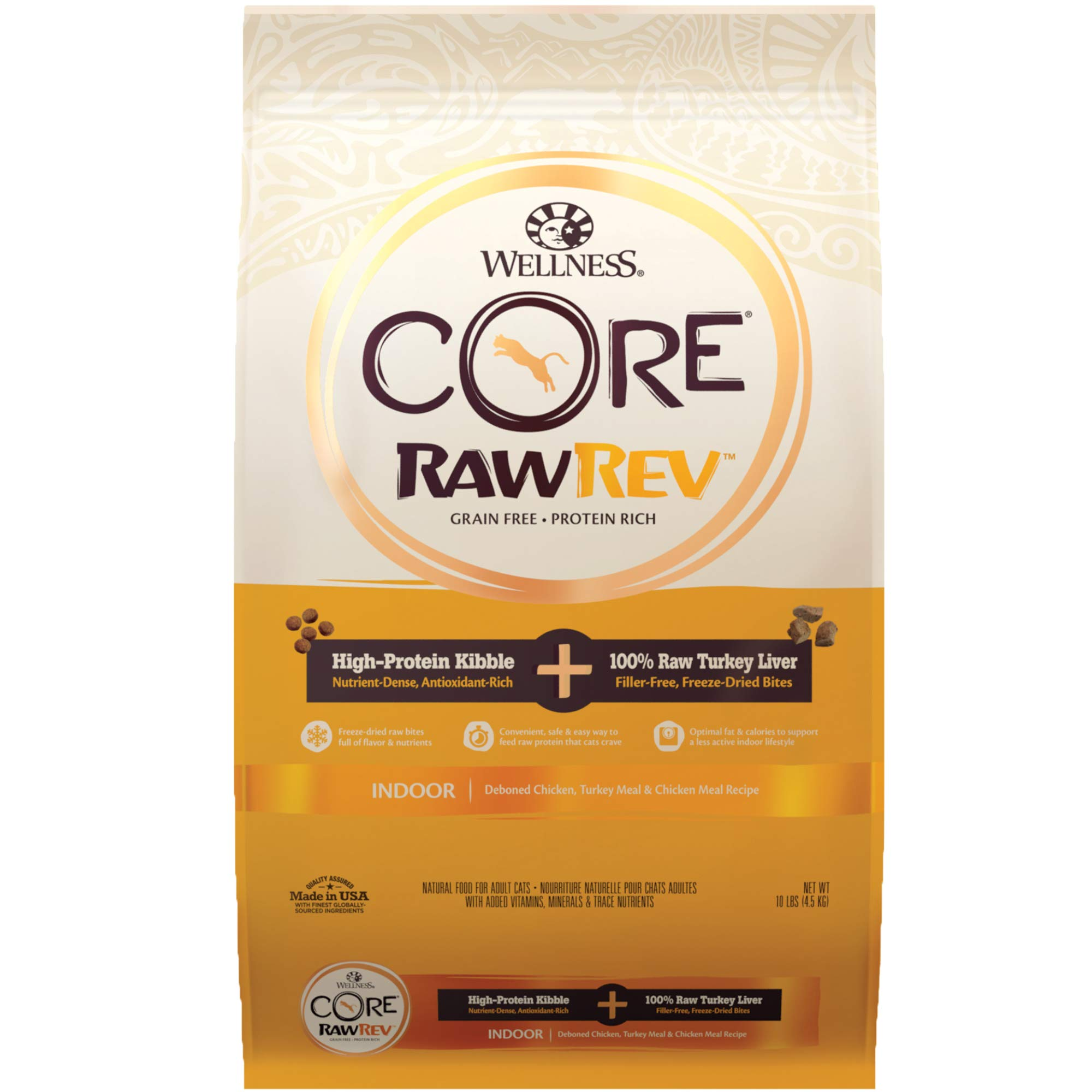 Wellness Core Rawrev Indoor Deboned Chicken, Turkey Meal & Chicken Meal Recipe, 10 lb Bag by Wellness Natural Pet Food