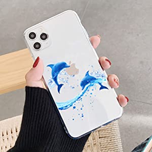 Topwin Clear Transparent TPU Case Compatible with iPhone 11 Pro, Art Pattern Cute Butterply/Dolphin Soft Crystal Slim Thin Girly Protective Case for Apple iPhone 11 Pro 5.8''(Dolphin)