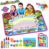 JYToyz Water Drawing Mat, Doodle Mat Aqua Magic Painting Mat, Ideal Kids Toys Toddlers Vehicle Painting Board Writing Mats with 4 Magic Pens 8 Molds for Boys Girls Gift