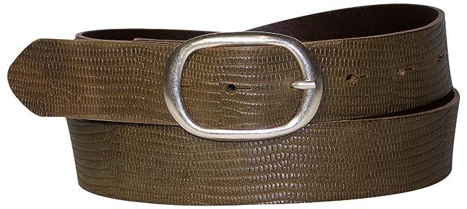 Fronhofer Ceinture unisexe mixte en cuir véritable 3,5 cm imprimé peau de  serpent boucle 06c932375c3