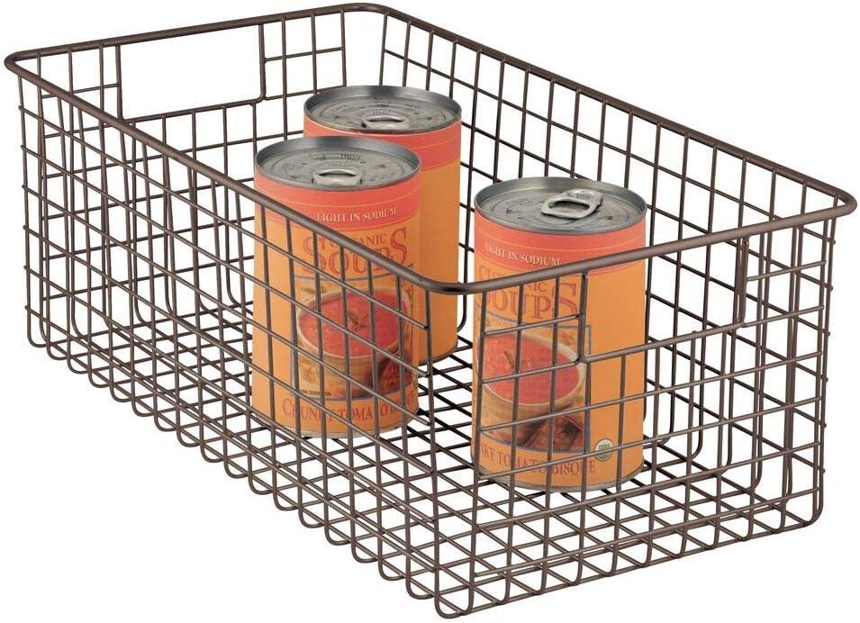 mDesign Farmhouse Decor Metal Wire Food Organizer Storage Bin Basket with Handles for Kitchen Cabinets, Pantry, Bathroom, Laundry Room, Closets, Garage - Bronze