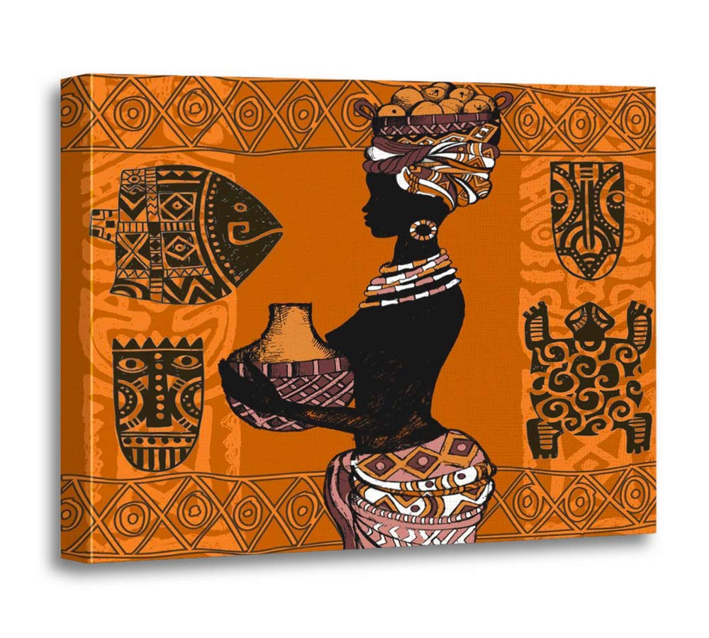 """Emvency 24""""x32""""(60x80cm) Canvas Painting Wall Art Orange Abstract Beautiful Black Woman African Masks and Ornaments Native Africa Home Decorative Artwork Prints"""