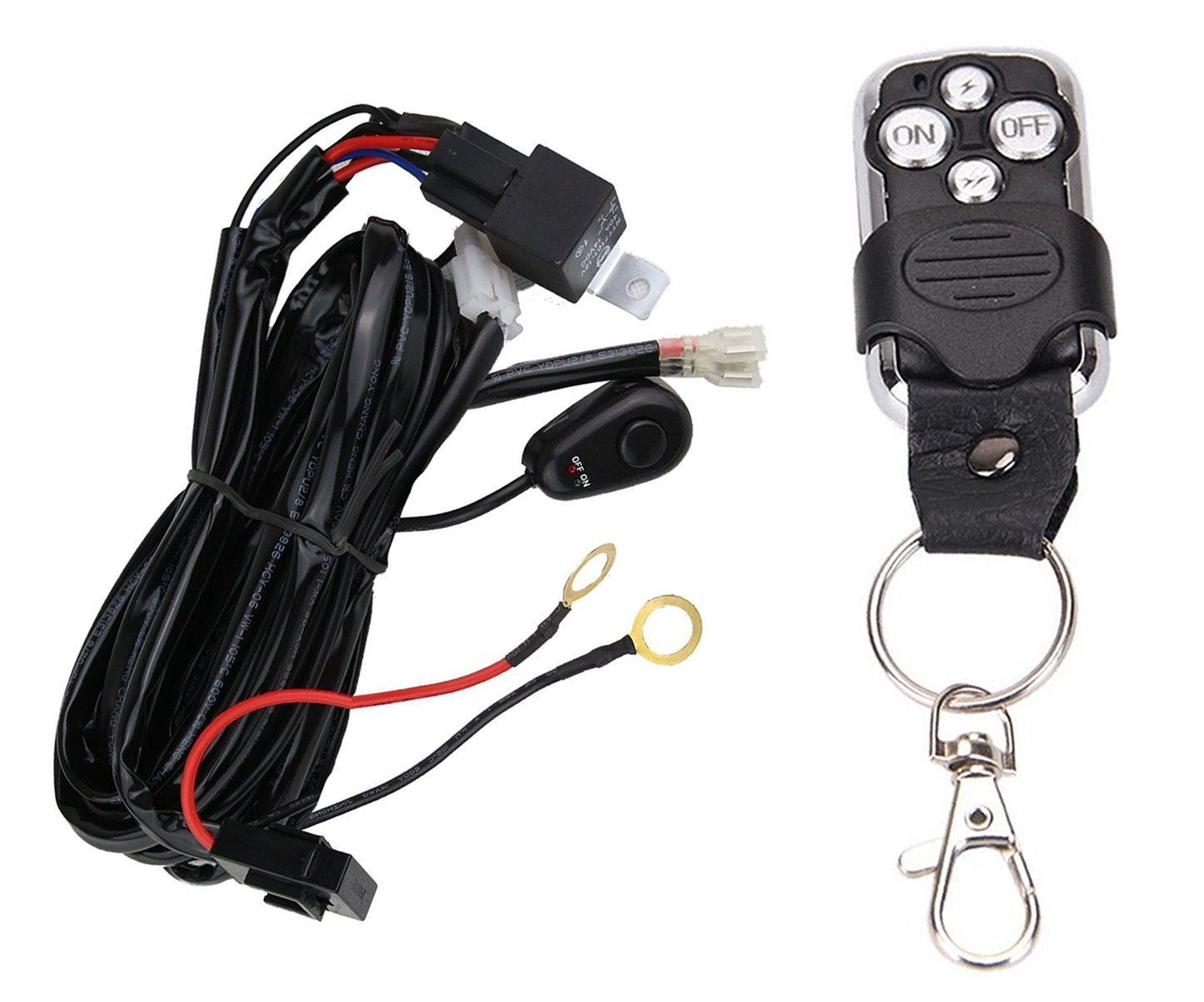 Wiring Harness for LED Light Bar with Remote Control by Glaretek | 12V 40A One Line Kit ON/OFF Switch Relay for Fog Light Off-Road Work 10FT Length (Remote Control), 12 Months Full Warranty