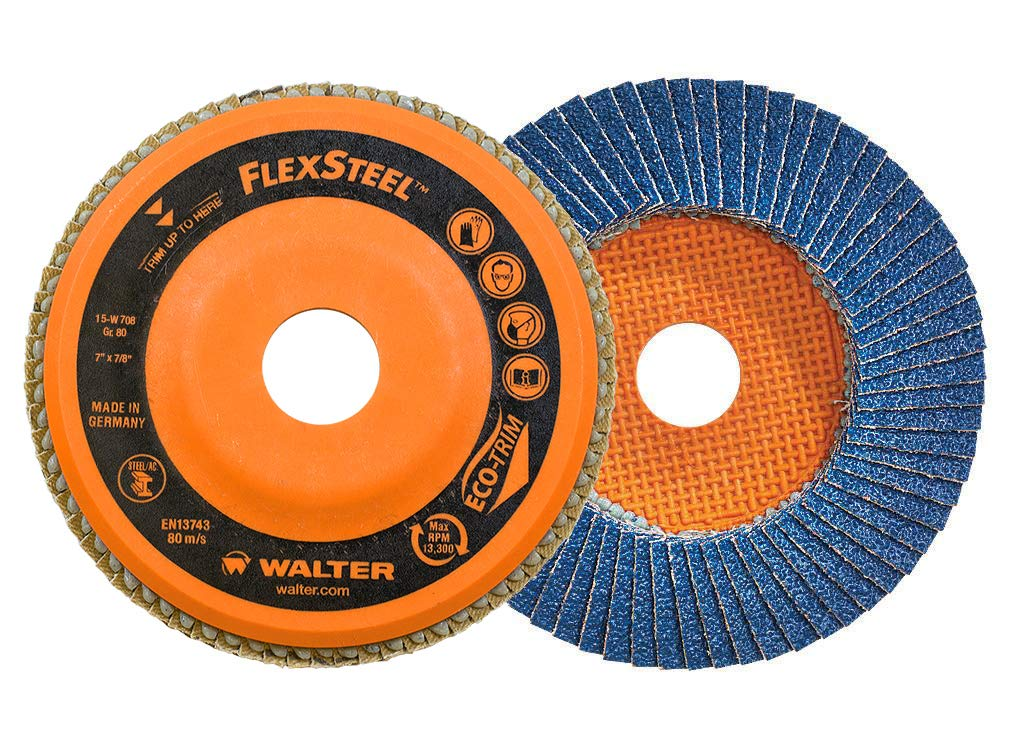 Grinding Disc for Angle Grinders Walter 15W706 FLEXSTEEL Flap Disc - 60 Grit Pack of 10 7 in Abrasive Grinding Supplies
