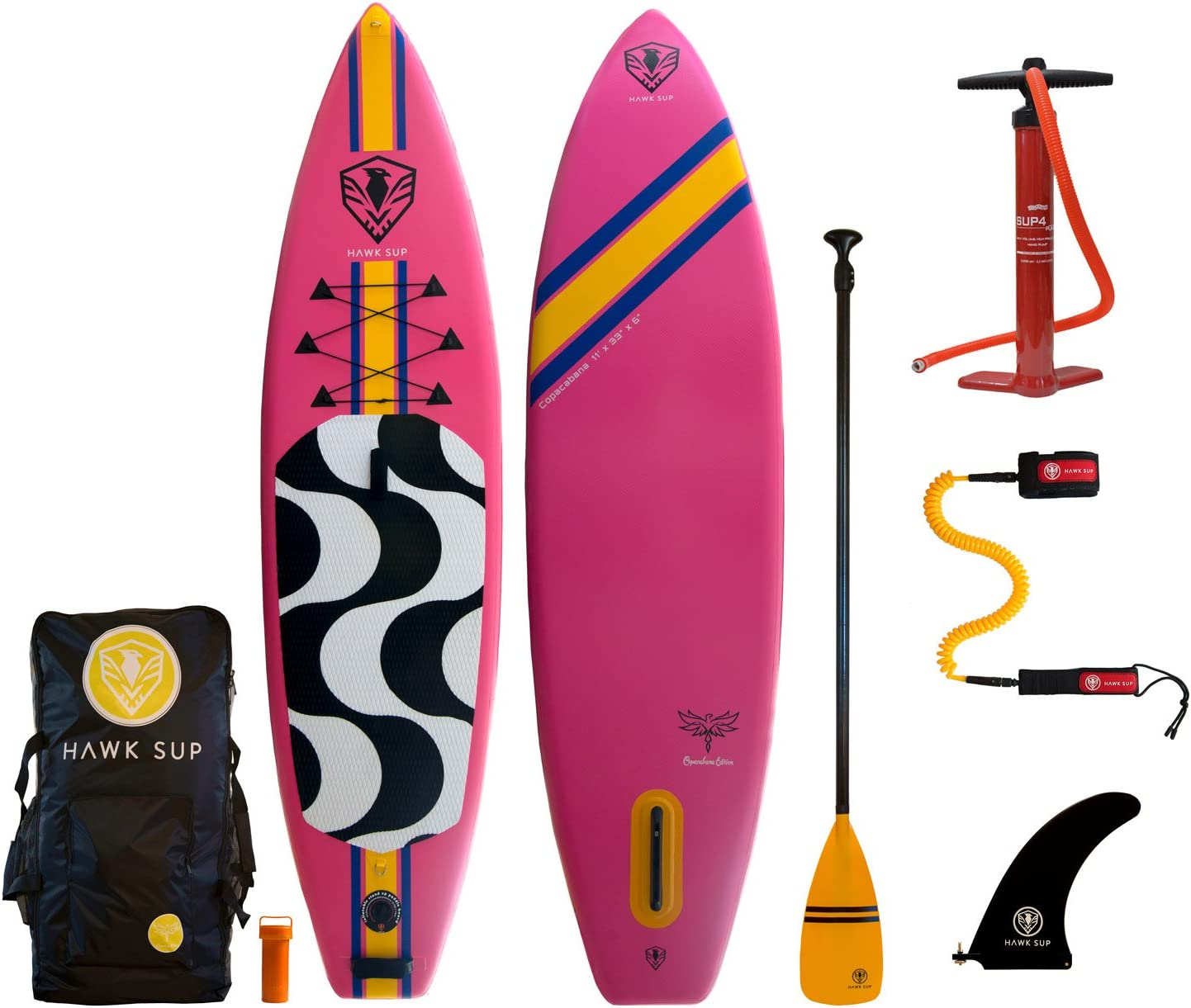 HAWK SUP Copacabana 11 Inflatable Stand Up Paddle Board Package 11 x 33 x 6 iSUP, Bravo Hand Pump and 3 Piece Paddle, Travel Backpack