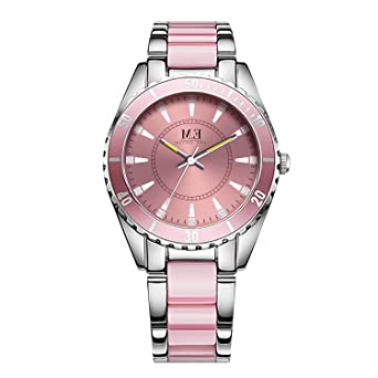 Women Wrist Watch Pink and Silver 2 Tone Stainless Steel Bracelet Quartz Movement by M.E,