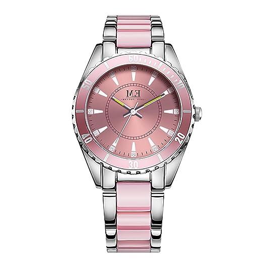 Reloj de Lujo con Cuarzo de Acero Inoxidable para Mujer-Correa de Cristal de Rosa y Analógico e Impermeable para Mujer: Amazon.es: Relojes
