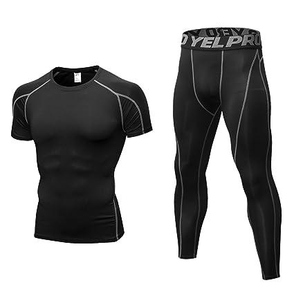 Niksa 2 Piezas Conjunto de Ropa Deportiva para Hombre Camiseta de Compresión  Manga Corta y Mallas 363fc009dcc2a