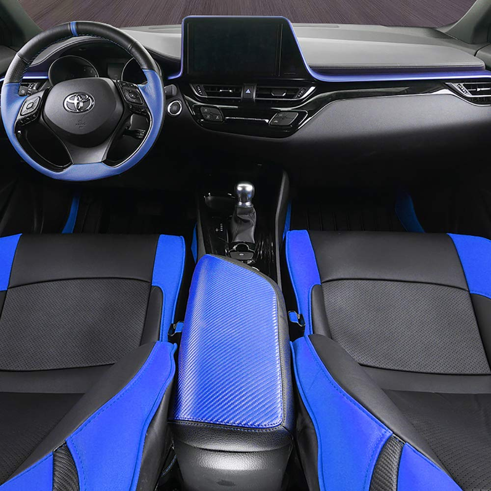 Blue and Black Stitching 1 Piece Armrest Cover Fit for Toyota CHR 2017 2018 2019 Central Console Armrest Box BEHAVE Toyota CHR Armrest Cover