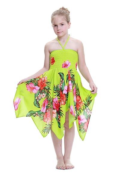 Niña gitano Botón desigual Hawaiian Luau vestido en Verde lima Floral 4