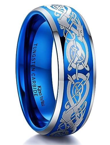 King Will Dragon Mens 8mm Blue Tungsten Carbide Ring Laser Celtic