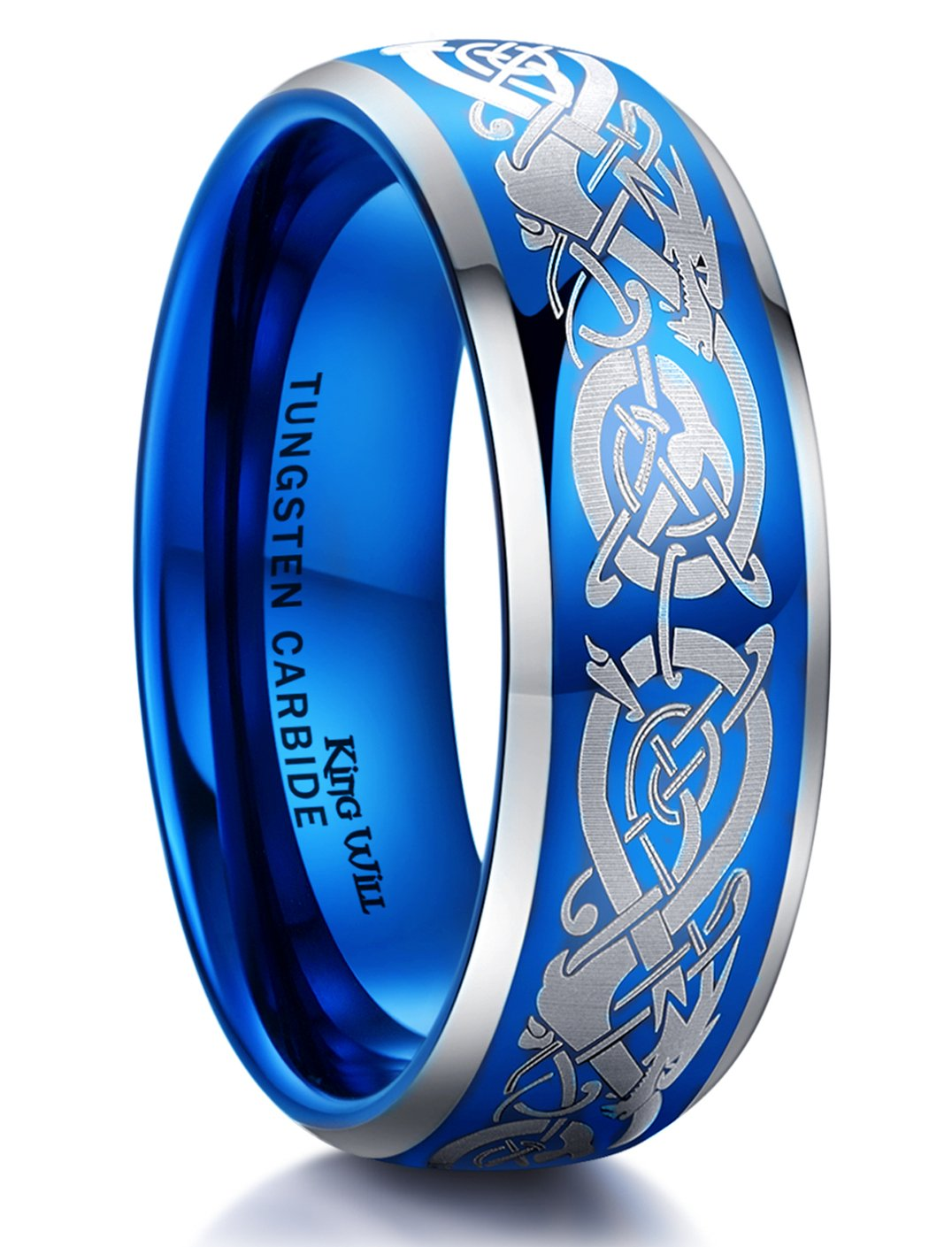 King Will DRAGON Mens 8mm Blue Tungsten Carbide Ring Silver Laser Celtic Knot Dragon Wedding Band Polished Domed Comfort Fit13.5