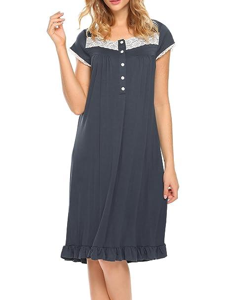 DonKap Sleepwear Womens Short Sleeve Nightgown Bamboo Viscose O Neck ... bc74b03a8