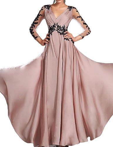 OYISHA Womens V-neck Ruched Chiffon Evening Dresses 3/4 Sleeve Formal Gowns EV49
