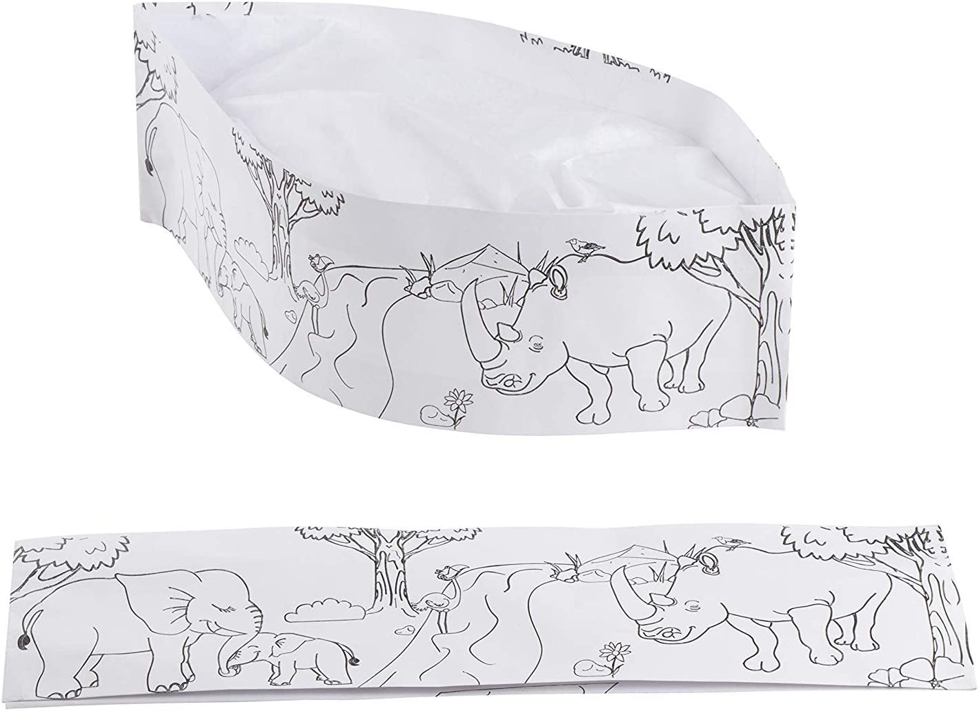 7 in, 100-Pack Kids Chef Hat with Jungle Animal Print