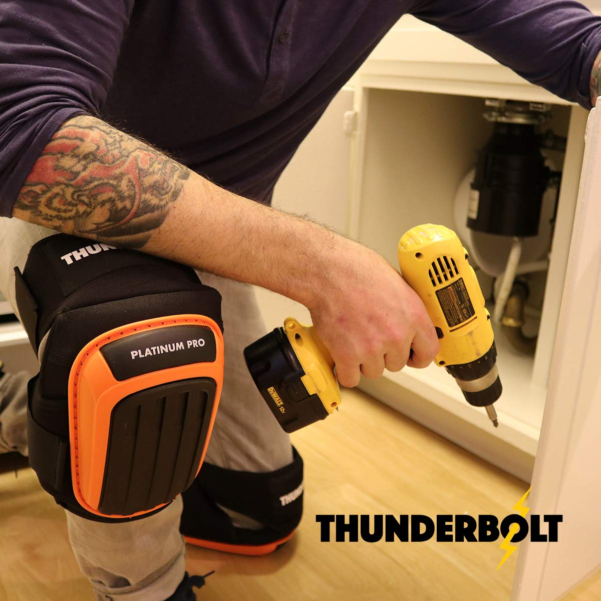 Knee Pads for Work by Thunderbolt with Heavy Duty Foam Cushioning and Gel Cushion Perfect for Construction, Flooring and Gardening with Adjustable Anti-Slip Straps by Thunderbolt (Image #2)
