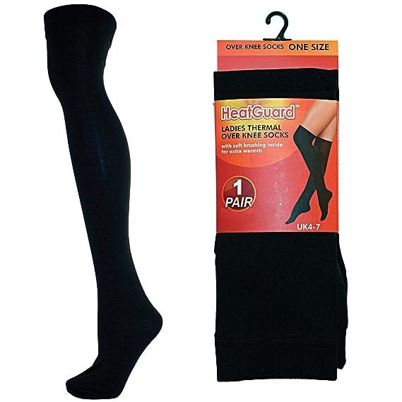 Ladies Heatguard térmico calcetines por encima de la rodilla 140 Denier estilo - SK191 Negro negro: Amazon.es: Ropa y accesorios