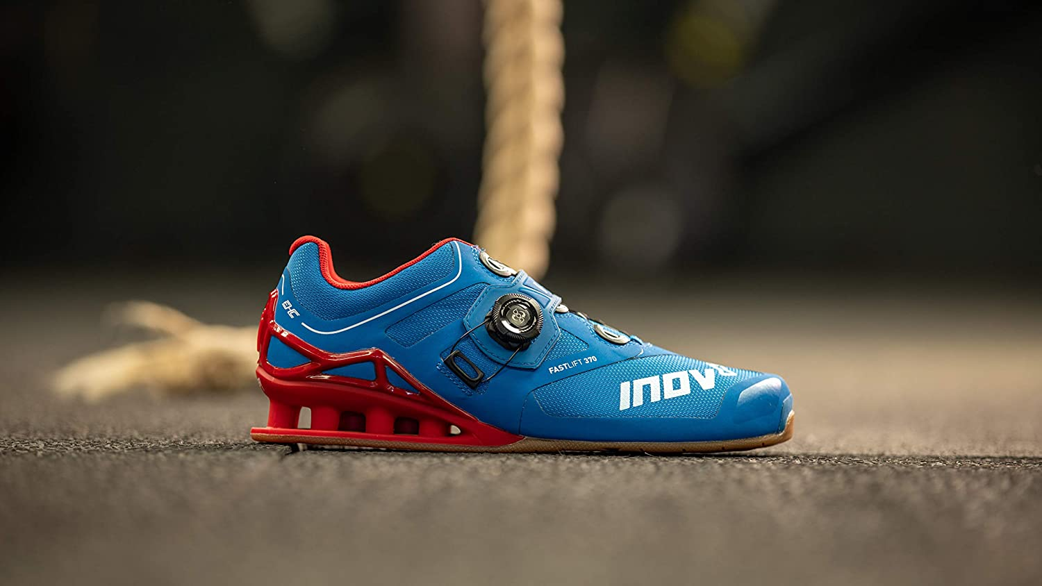 Inov-8 Lifting Mens Fastlift 370 BOA - Powerlifting Shoes for Heavy Weightlifting - Squat Shoe - 4 July Exclusive - Wide Toe Box Blue/Red