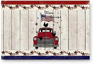 Doormats Entrace Door Rug, Farm House Red Truck with USA Flag Cock,Indoor/Bathroom/Kitchen/Bedroom/Entryway Floor Mat Decorative, Non-Slip Low Profile,23.6x15.7 inch