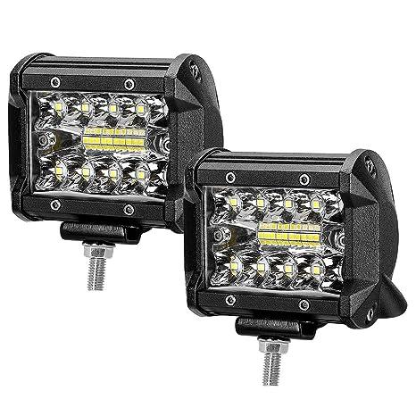 60W Focos de Coche LED 4 Pulgadas, 2pcs Superbrillantes LED Faros de Trabajo, Luz