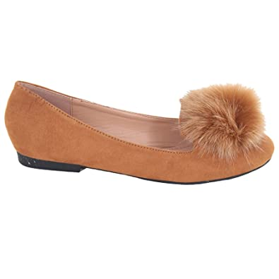 WOMEN/'S POM POM FLAT LOAFERS PUMPS SUEDE FUR FASHION SHOES SIZE 3-8