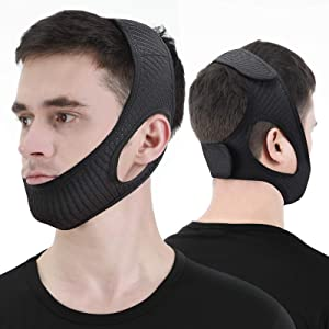Anti Snore Chin Strap, Stop Snoring Device, Newest Chin Strap for Men Women, Adjustable and Breathable Anti Snoring Solution for Snorers of All Ages, Snoring Sleep Aid - Large