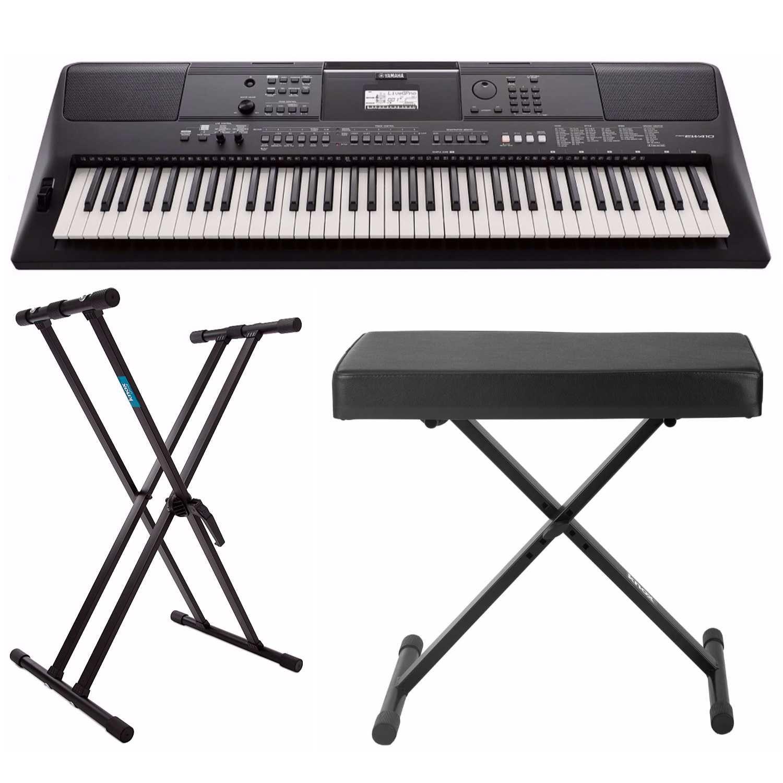 Yamaha PSREW410 76-key Portable Keyboard with Power Adapter, Knox Double X Keyboard Stand & Bench by YAMAHA