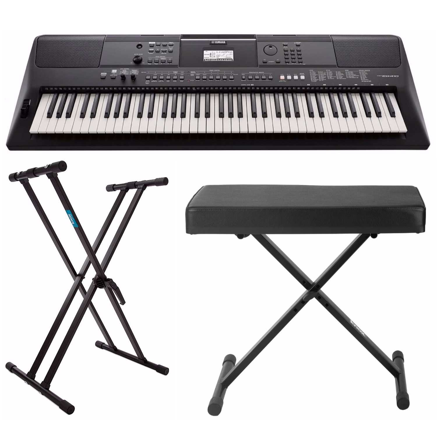 Yamaha PSREW410 76-key Portable Keyboard with Power Adapter, Knox Double X Keyboard Stand & Bench