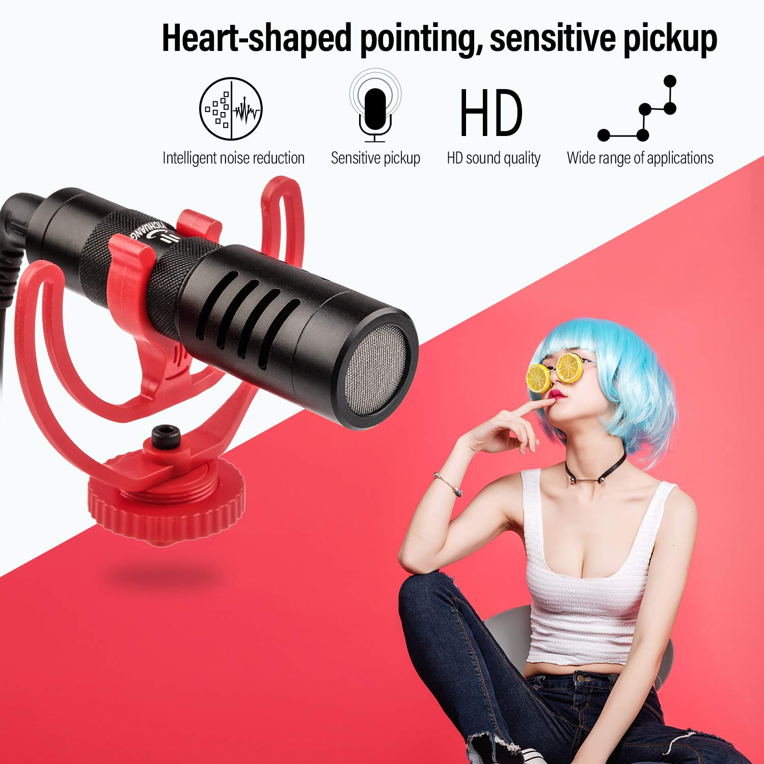 VILTROX Video Microphone YouTube Vlogging Facebook Livestream Recording Shotgun Mic for iPhone Huawei Smartphone DJI Osmo Mobile 2,for ZHIYUN Smooth 4