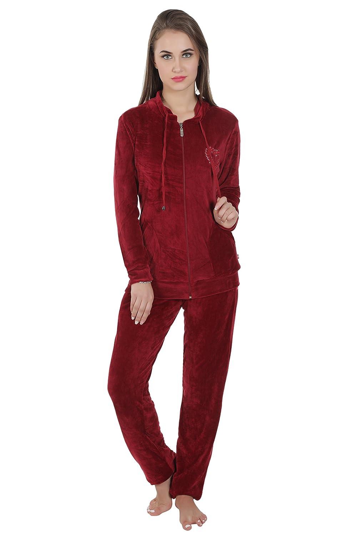 Valentine Women's Maroon Vellore Pyjama Set: Amazon in