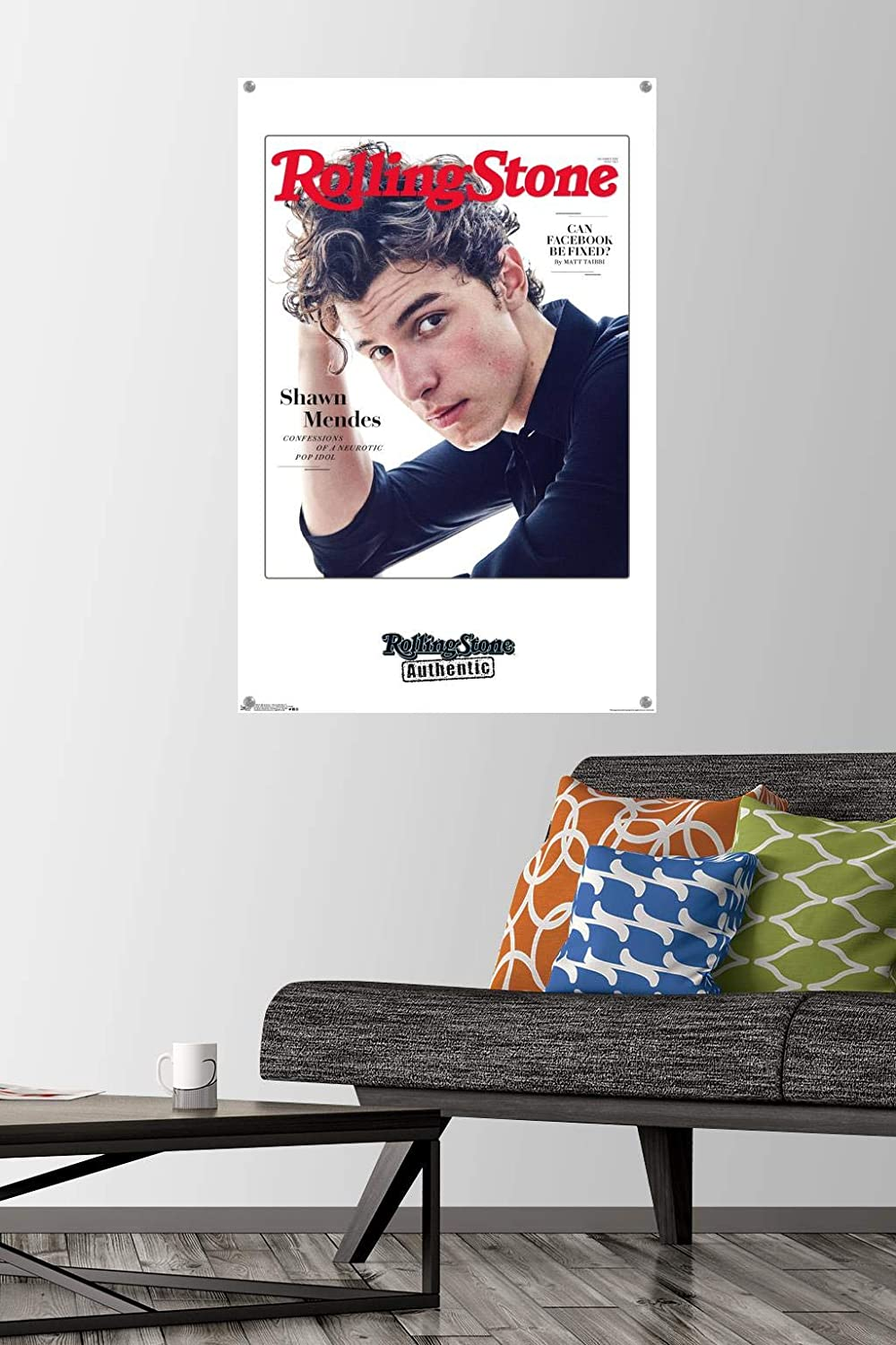Trends International Rolling Stone Magazine - Shawn Mendes 18 Wall Poster with Push Pins, 22.375