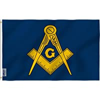 ANLEY [Fly Breeze] 3x5 Foot Masonic Flag - Vivid Color and UV Fade Resistant - Canvas Header and Double Stitched - Free Freemasonry Flags Polyester with Brass Grommets 3 X 5 Ft