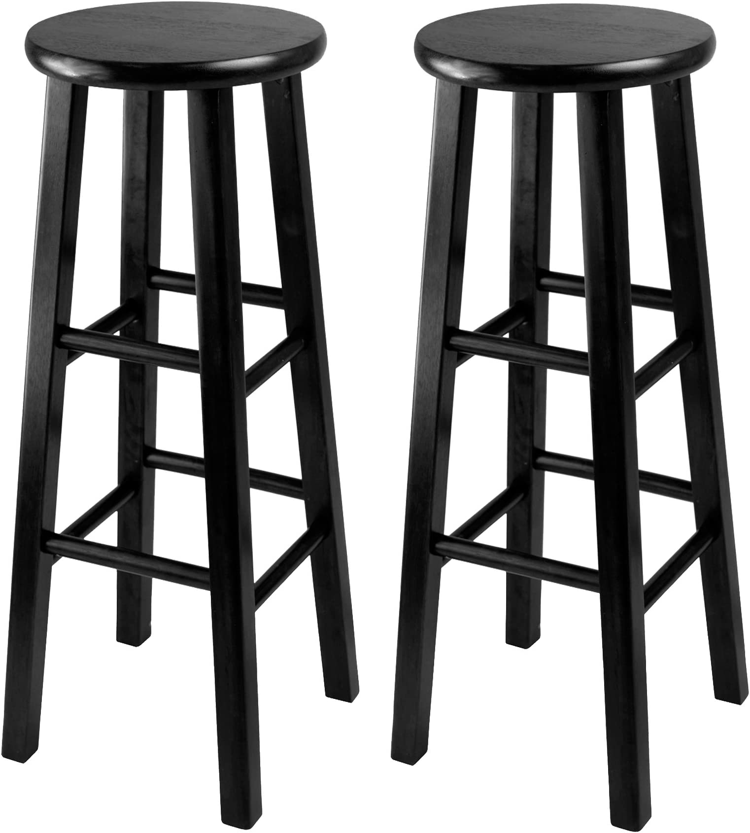 Winsome 29-Inch Square Leg Bar Stool Black Set of 2  sc 1 st  Amazon.com : wooden bar stools with backs - islam-shia.org