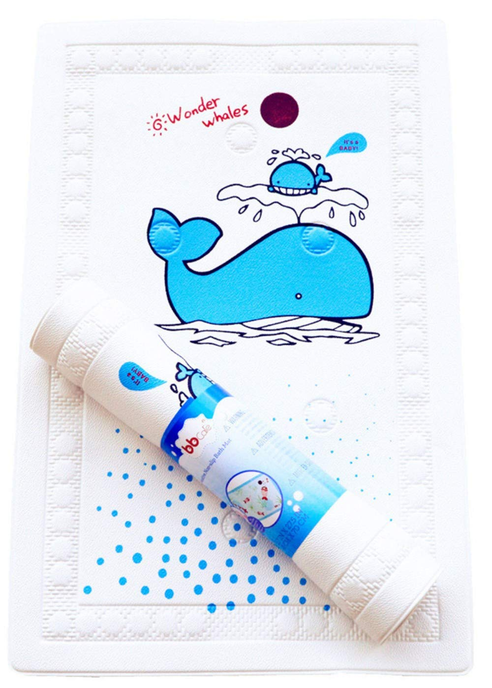 BBCare Baby Non-Slip Bath Mat with Heat Sensitive Spot - Blue_Whale (15.7 x 27.6in) by Bbcare
