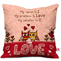Indigifts Micro Satin Love Printed Cushion with Filler, 12x12-inches, White