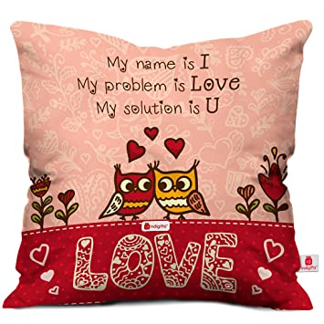 indibni valentine day gift love quote cute birds couple doodle pink cushion cover 16x16quot