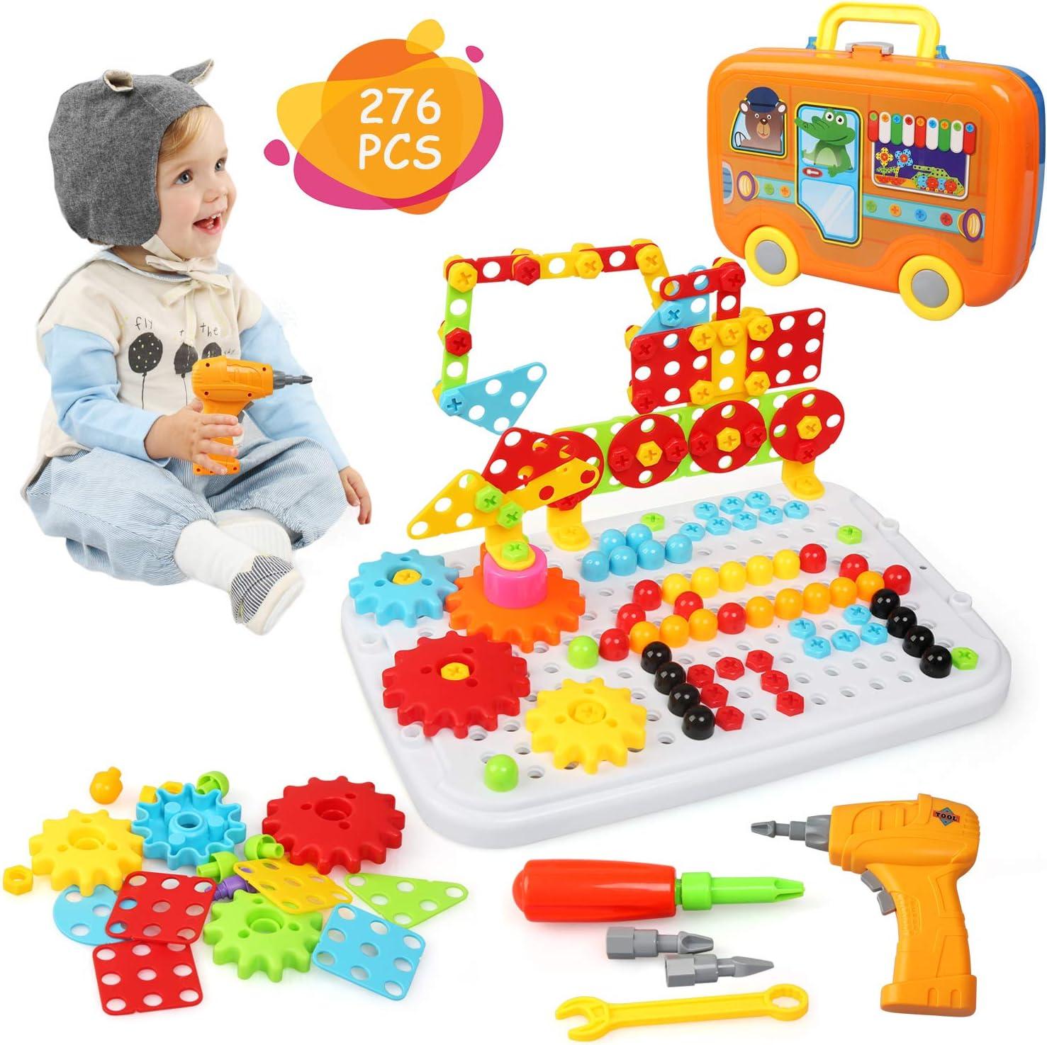 Ballery Juguetes Montessori Puzzles 3D, 276 Piezas Bloques Construccion Rompecabezas, Bricolaje Taladro Eléctrico Juguete de Construcción para niños niños
