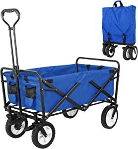 """HEMBOR Collapsible Outdoor Utility Wagon, Heavy Duty Folding Garden Portable Hand Cart, with 8"""" Rubber Wheels and Brake Wheels, Adjustable Handles and Double Fabric, for Shopping,Picnic,Beach (Blue)"""