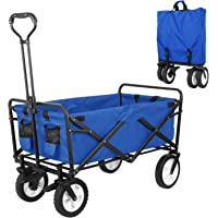 HEMBOR Collapsible Outdoor Utility Wagon, Heavy Duty Folding Garden Portable Hand Cart, with 8″ Rubber Wheels and Brake Wheels, Adjustable Handles and Double Fabric, for Shopping,Picnic,Beach (Blue)